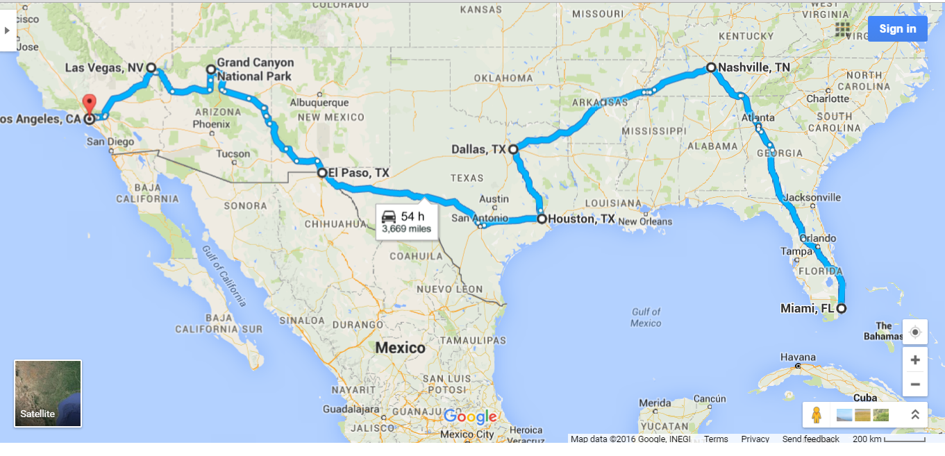 USA ROAD TRIP MAP AA